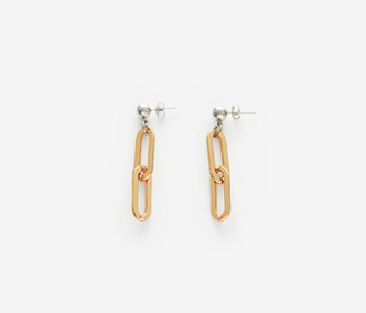 Drop and Rose Gold Chain Earrings