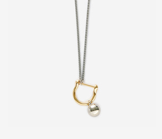 Bold Drop and Link Long Necklace - GOLD, SILVER