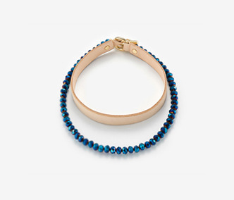 Blue Beads and Leather Choker Set
