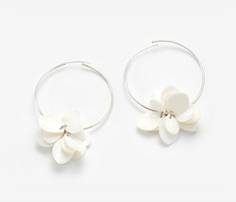 Shell Flower Silver Earrings
