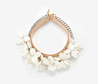 Shell Flower and Leather Choker Set