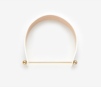 Ball & Stick Leather Choker (white)