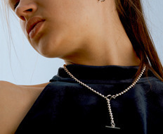 Silver Ball Chain Long Necklace