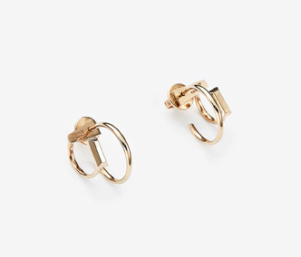 Baguette Stud Double Earrings Ver. 1