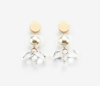 [민효린, 제시카 착용] Crystal Flower And Pearl Earrings