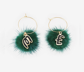 [ME x Chocomoo] Witty initial & pompom earrings (50%off)