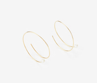 [PRECIOUS] Twisted Circle And Pearl Earrings BIG (15%off)