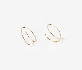 [PRECIOUS] Twisted Circle And Pearl Earrings SMALL (15%off)