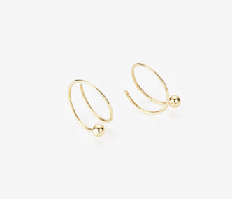 [PRECIOUS] Twisted Circle And Ball Earrings SMALL (15%off)