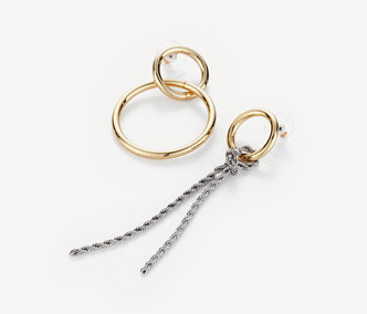 Chain Knot and Circle Earrings