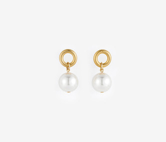 Small Circle and Pearl Earrings