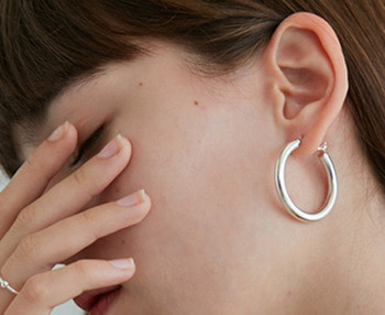 [usual ME] silver hoop earrings 1