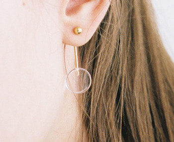 [usual ME] acrylic pendulum silver earrings