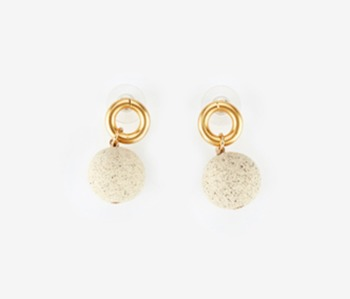 Ceramic Ball & Small Circle Earrings