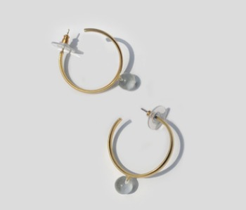 Glass Ball Hoop Earring (10%off)