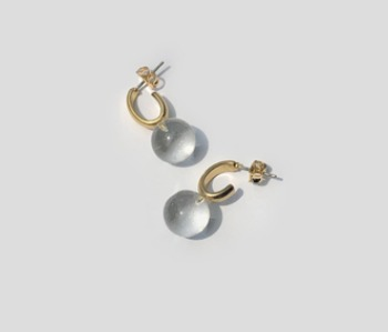 Oval and Glass Earrings