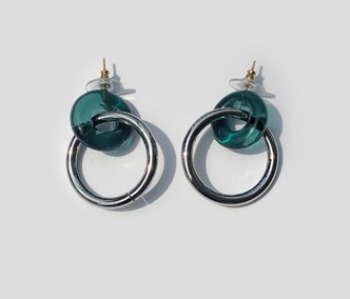 Donut Glass and Circle Earrings  Emerald (10%off)