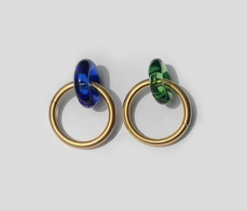 Donut Glass and Circle Earrings Green+ Blue (10% off)