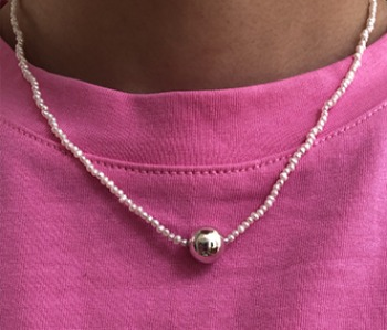 The pearl and silver ball necklace (10%off)